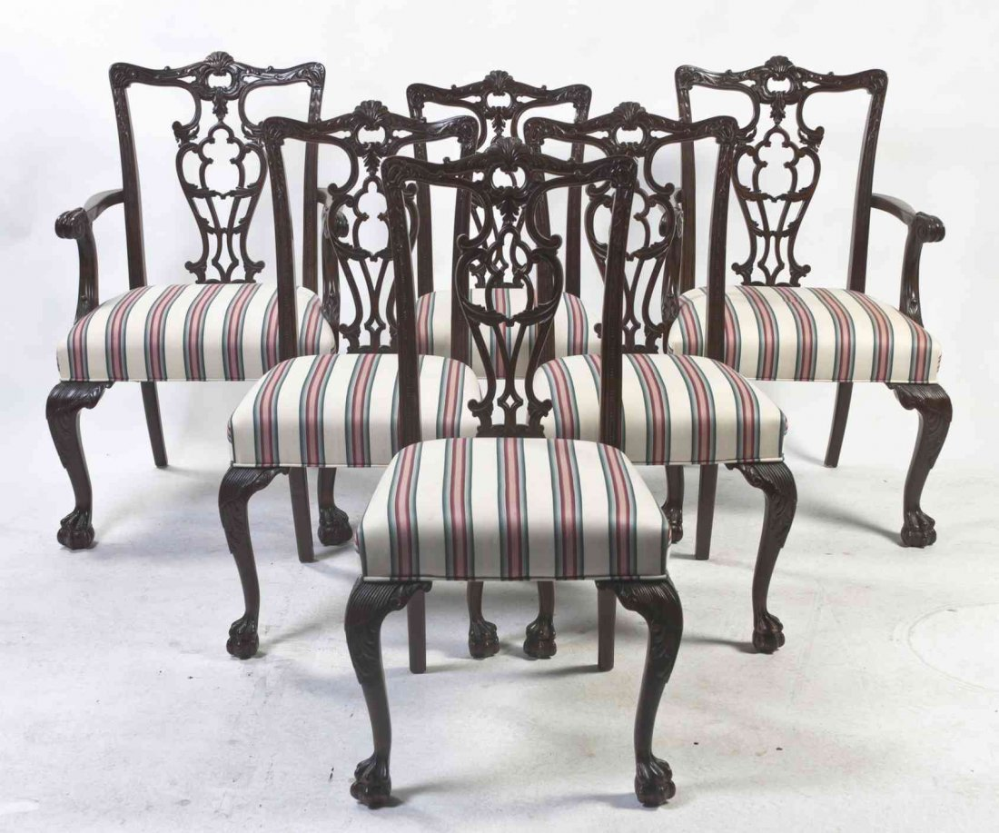 A Set of Six Chippendale Style Mahogany Dining Chairs,