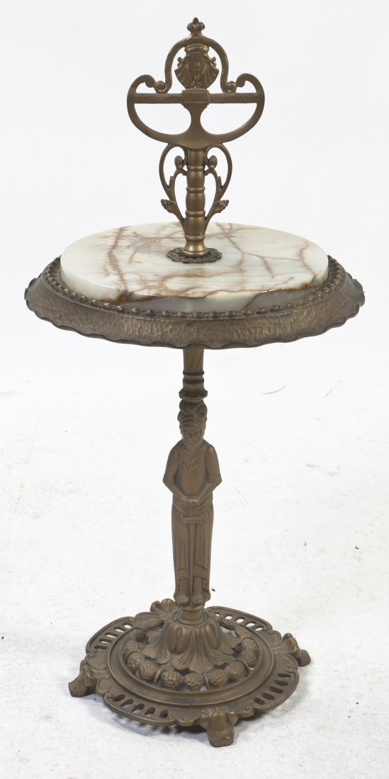 A Victorian Brass and Onyx Side Table, Height 33