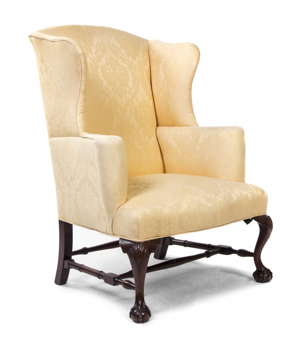 A Georgian Style Mahogany Wing Back Chair, Height 44
