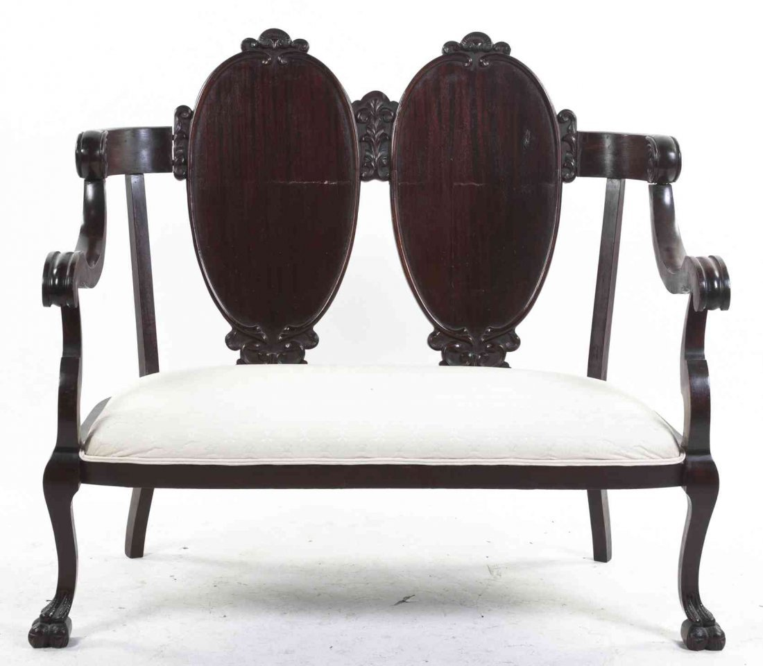 An American Mahogany Double-Back Settee, Height 41 x
