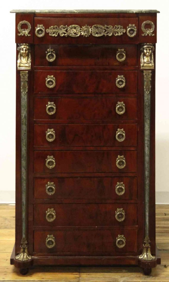 An Empire Style Mahogany Tall Chest of Drawers, Height