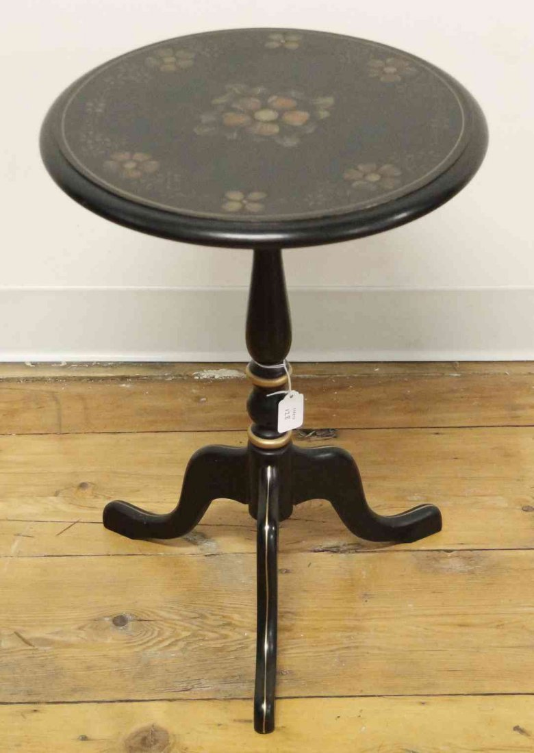 A Regency Style Partial Gilt and Ebonized Candle Stand,