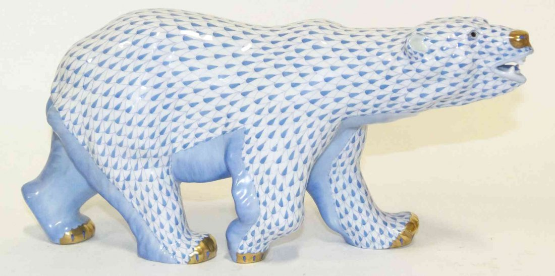 A Herend Porcelain Polar Bear, Height 7 2/3 inches.