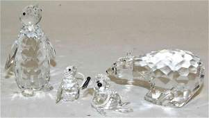 Four Swarovski Cut Glass Articles, Height of tallest 3