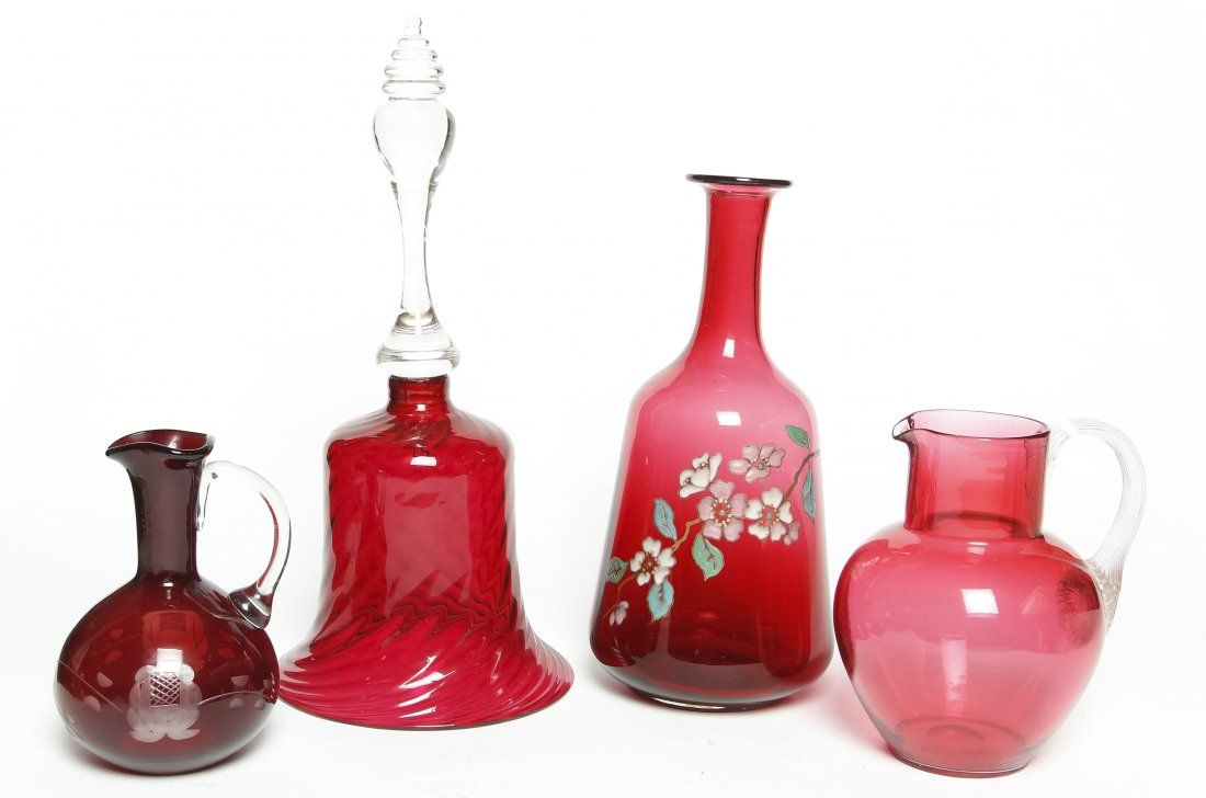 Four Cranberry Glass Articles, Height of tallest 12