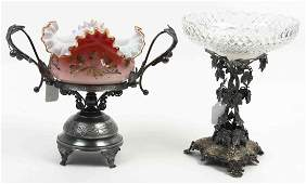 Two Victorian Silvered Metal and Glass Center Bowls