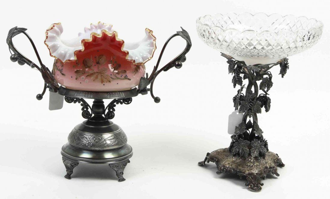 Two Victorian Silvered Metal and Glass Center Bowls,
