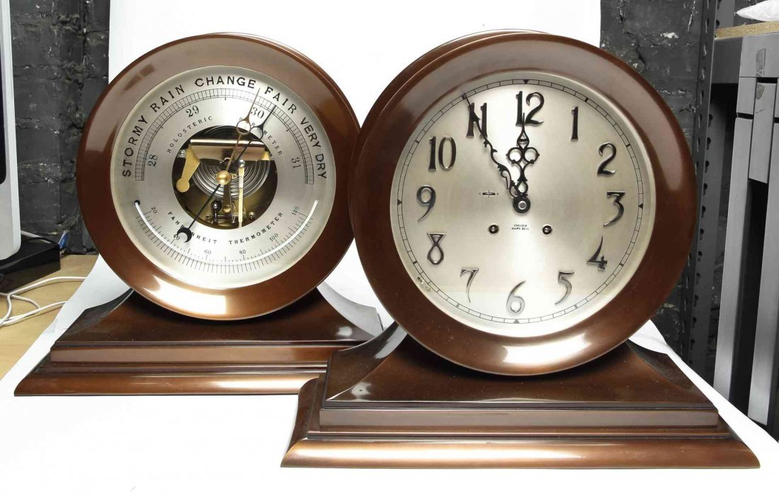 A Bronze Chelsea Ship's Clock and Barometer Set, Height