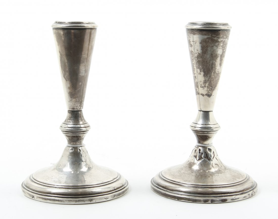 A Pair of American Silver Small Candlesticks, 20th