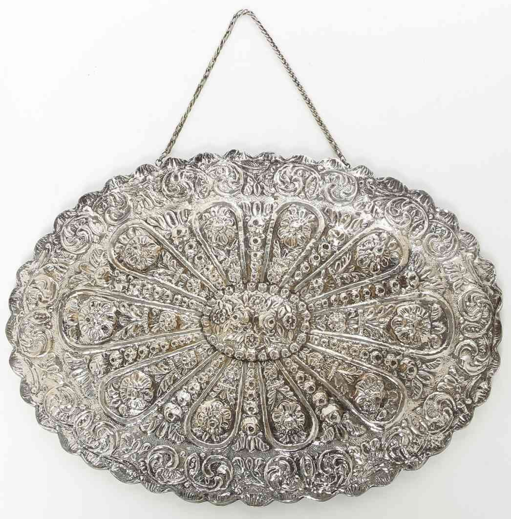 A Victorian Style Silver Hanging Mirror, Width 14