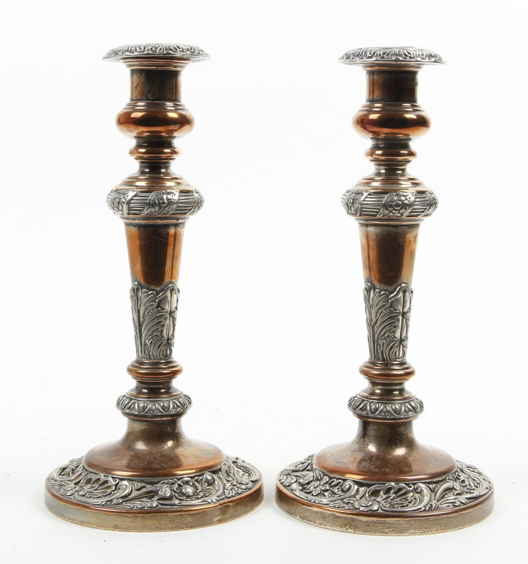 A Pair of English Silver-Plate Candlesticks, Height 22