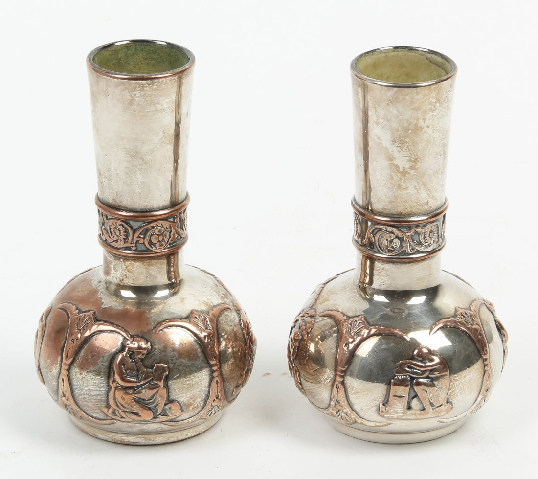 A Pair of English Silver-Plate Vases, Adams, Height 5