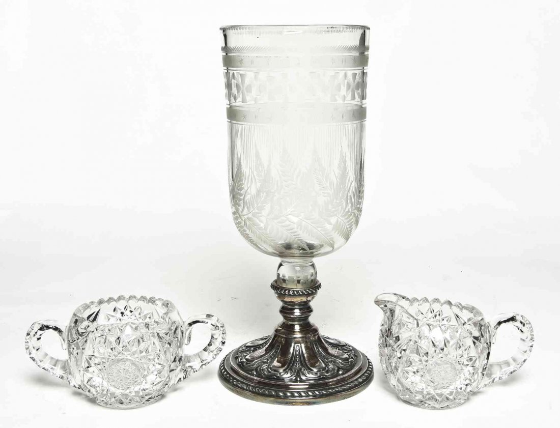 An English Silver-Plate and Etched Glass Candlestick,