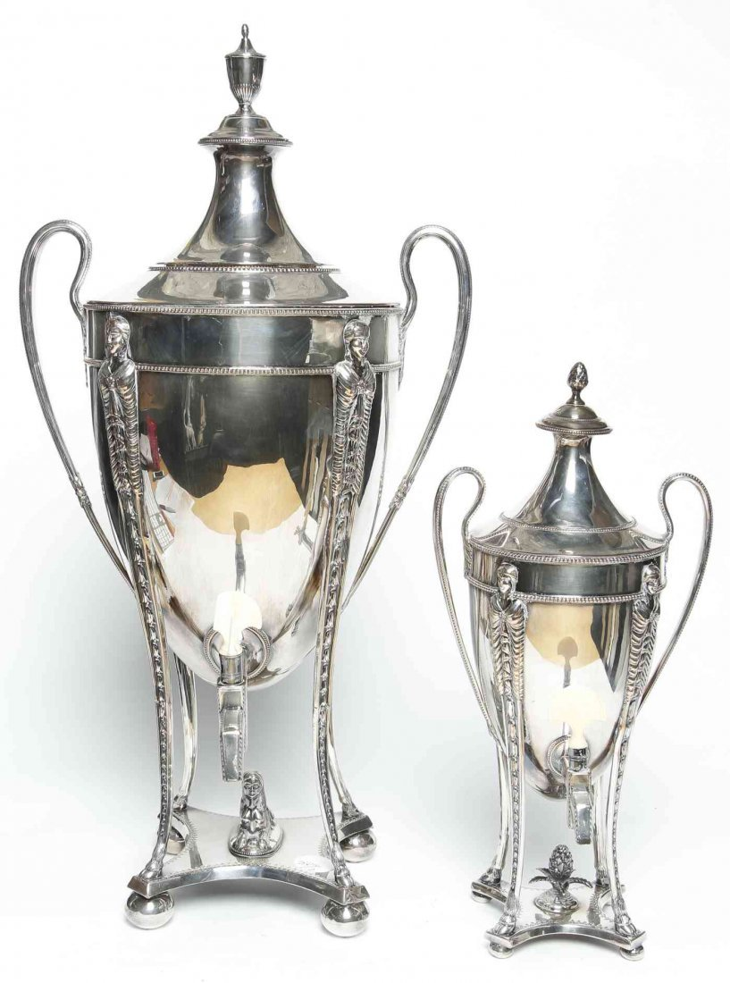 Two English Silver-Plate Kettles on Stands, Height of