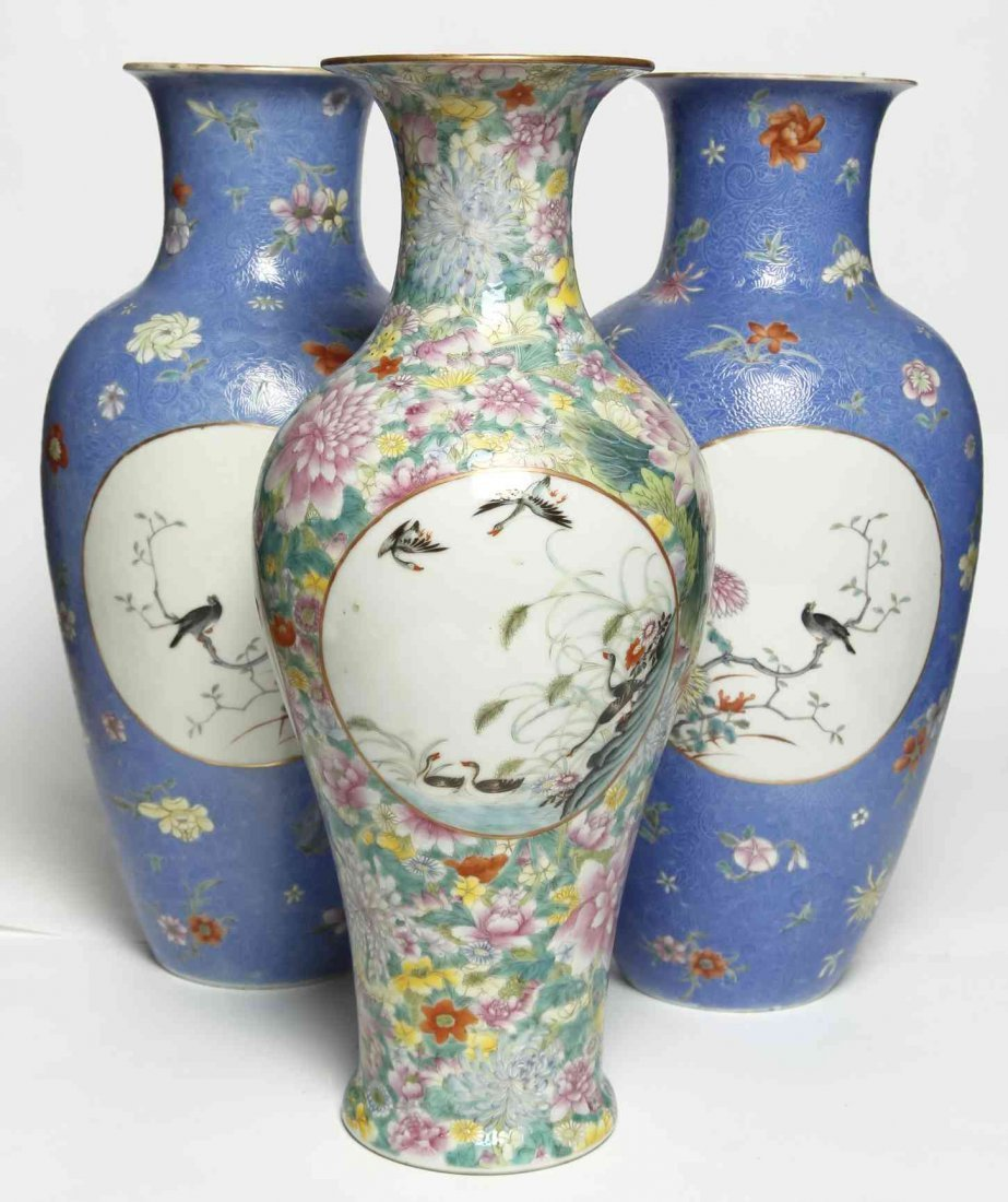 A Pair of Chinese Polychrome Enamel Porcelain Vases,