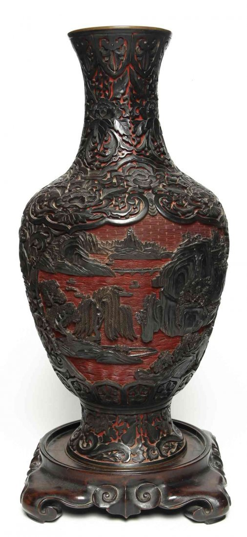 A Chinese Two-Color Lacquered Vase, Height of vase 18