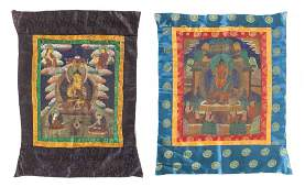 Two Tibetan Thangkas Height 23 x width 18 58 inches