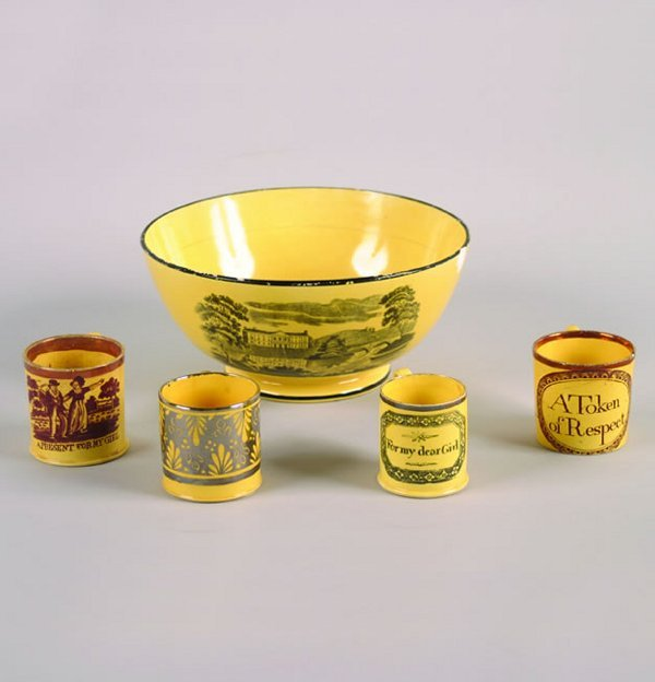 263: A Transfer Printed Canary Ground Bowl,