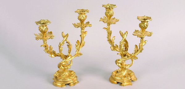 478: A Pair of Rococo Style Gilt-Bronze Cande