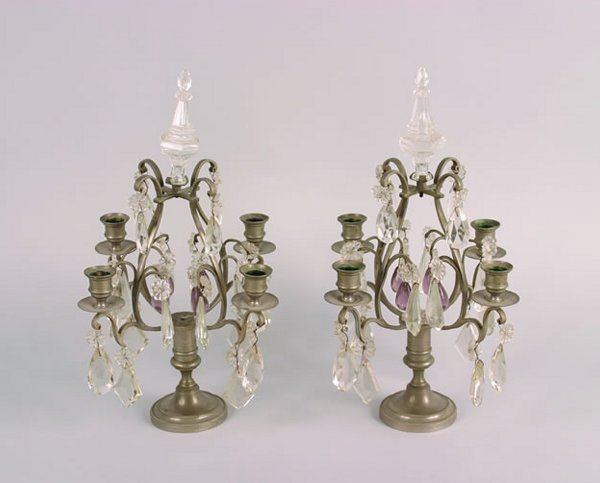 479: A Pair of Pewter Candelabra,