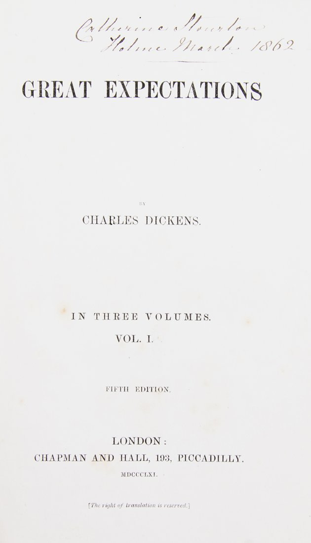 DICKENS, CHARLES. Great Expectations. London, 1861. 3