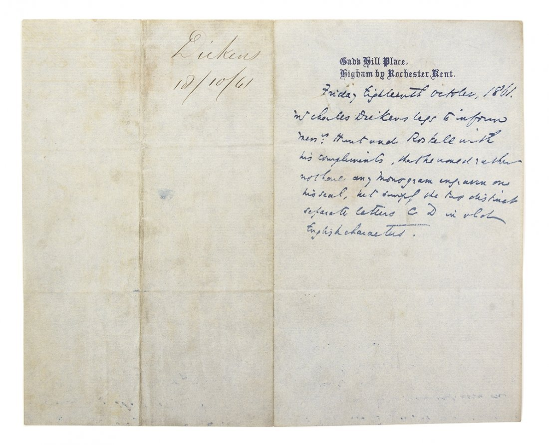 DICKENS, CHARLES. Autographed letter accomplished in