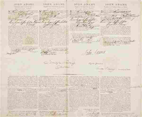 """ADAMS, JOHN. Document signed (John Adams""""), as"""