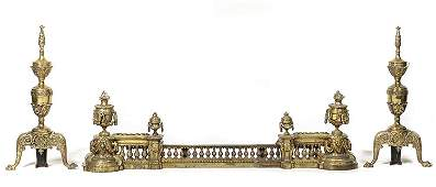 A Louis XVI Style Brass Fireplace Suite, Height 12 x