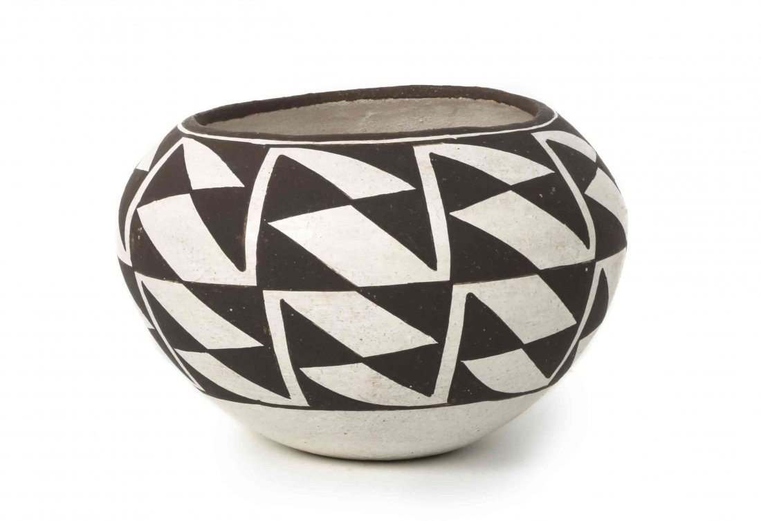 An Acoma Black and White Pottery Bowl, Lucy Lewis,