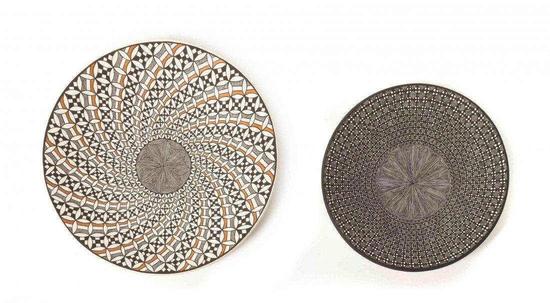 Two Acoma Pottery Plates, Rebecca Lucario, Diameter of