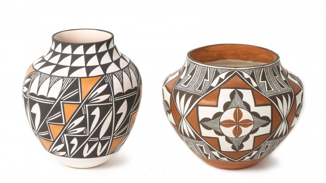 Two Acoma Polychrome Ollas, Earlene Antonio, Height of