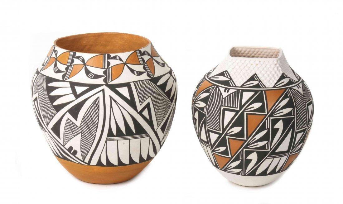 Two Acoma Polychrome Ollas, Eva Histia and Earlene