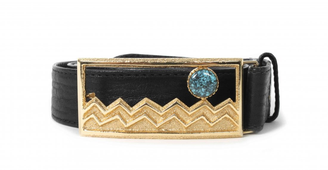 A 14 Karat Yellow Gold and Lander Blue Turquoise Belt