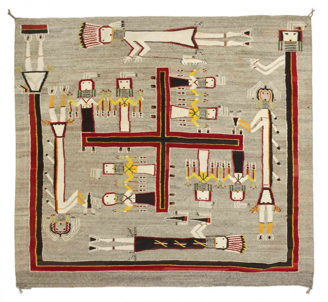 A Navajo Weaving, Sandpainting, 71 x 87 inches.