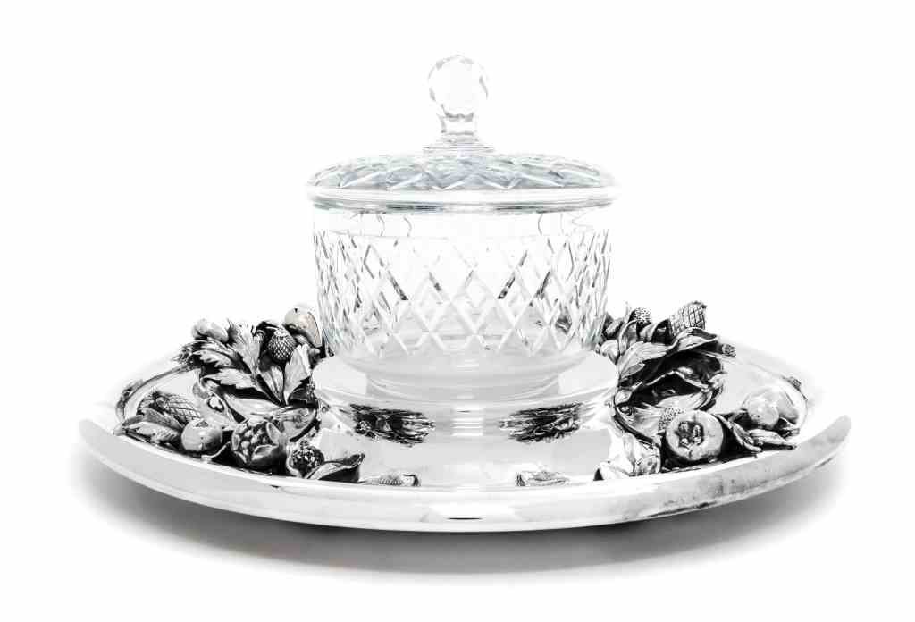 An Italian Silver and Cut-Glass Centerpiece, Milan, Mid