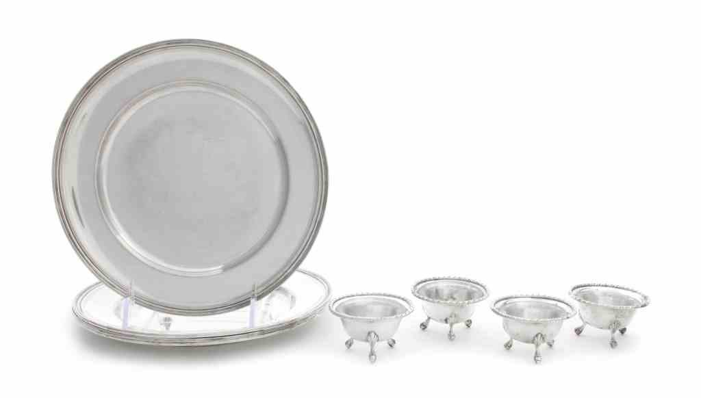 Four Italian Silver Dessert Plates and Four Salts,