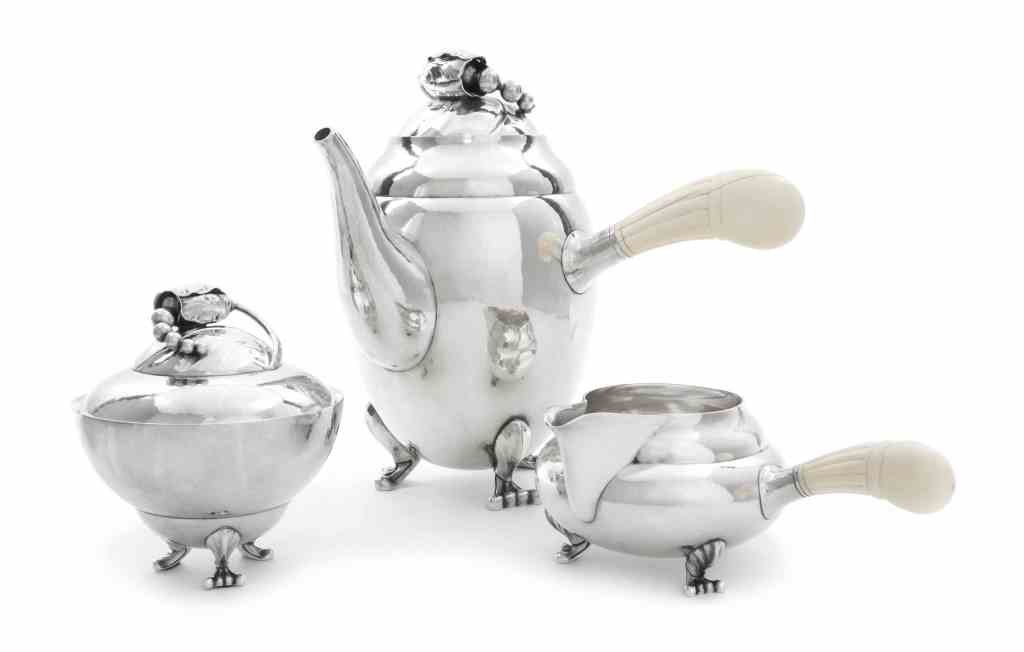 A Danish Silver Three-Piece Coffee Set, No. 2D, Georg