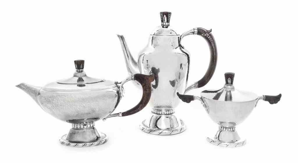 A Danish Silver Three-Piece Tea and Coffee Set, No. 88,