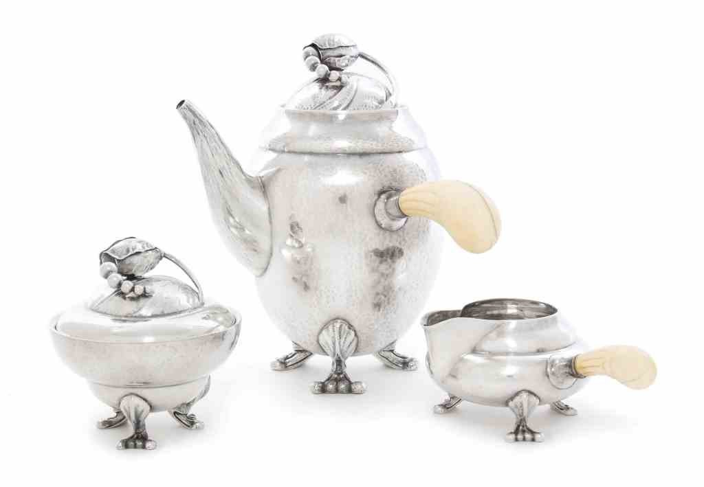 A Danish Silver Three-Piece Coffee Set, Georg Jensen