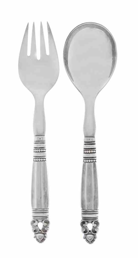 A Danish Silver Two-Piece Salad Serving Set, Georg