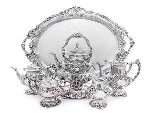 An American Silver Five-Piece Tea and Coffee Set and