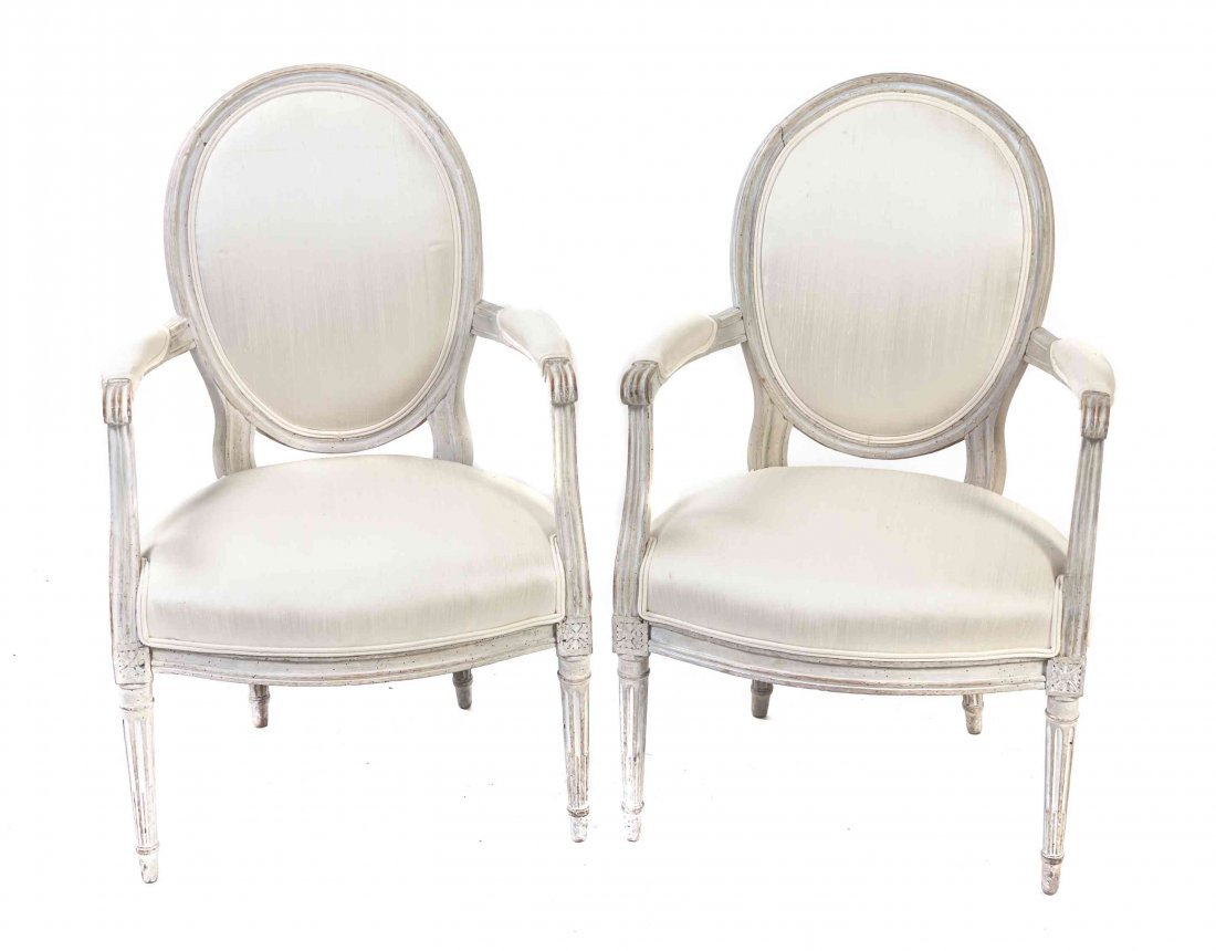 A Pair of Louis XVI Style Fauteuils, Height 36 inches.