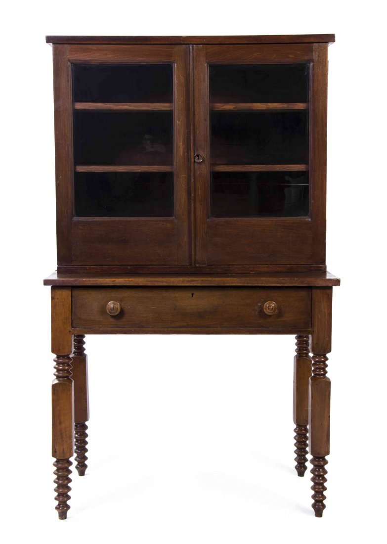 An American Walnut Step Back Cupboard, Height 59 1/2 x