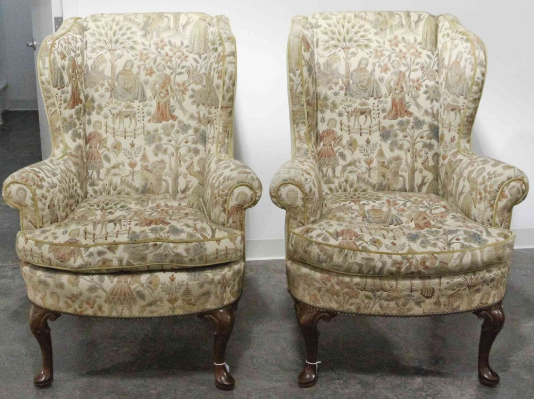 A Pair of George III Chippendale Style Wingback Chairs,