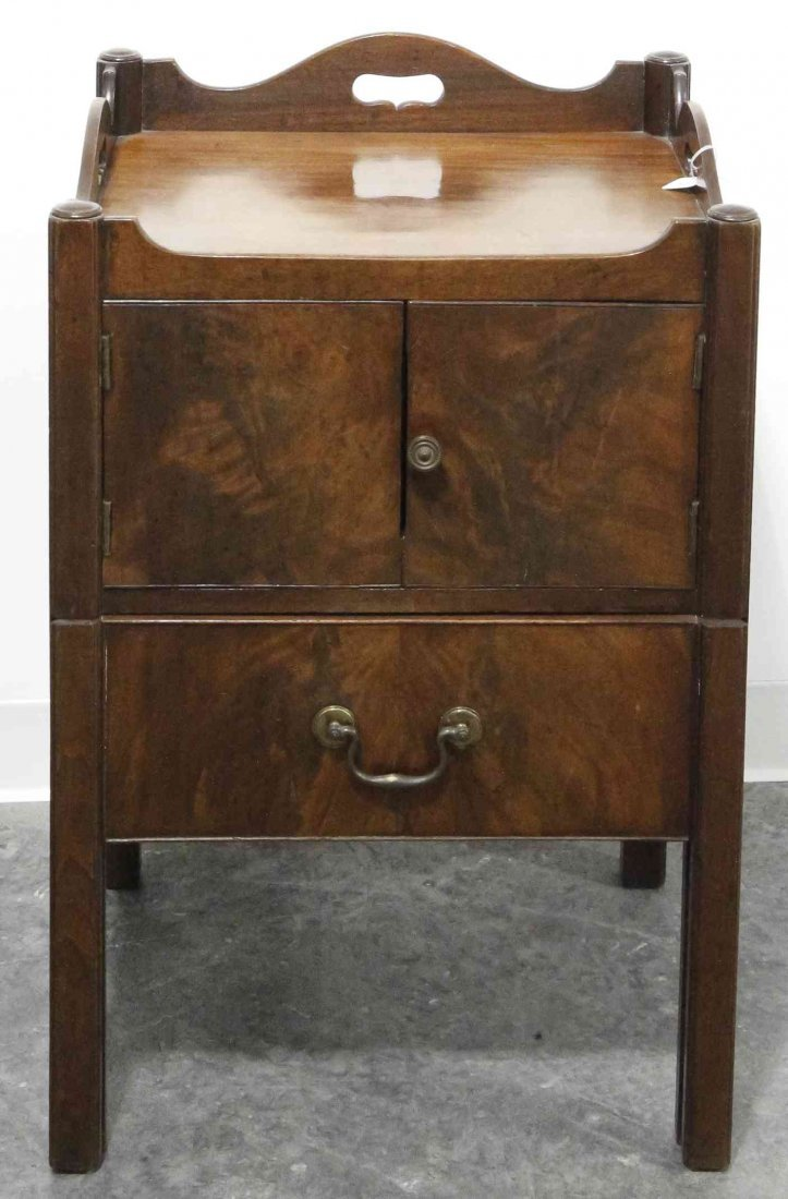 A George III Style Mahogany Tray Top Commode, Height 31