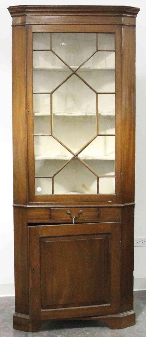 A George III Style Mahogany Corner Cabinet, Height 78