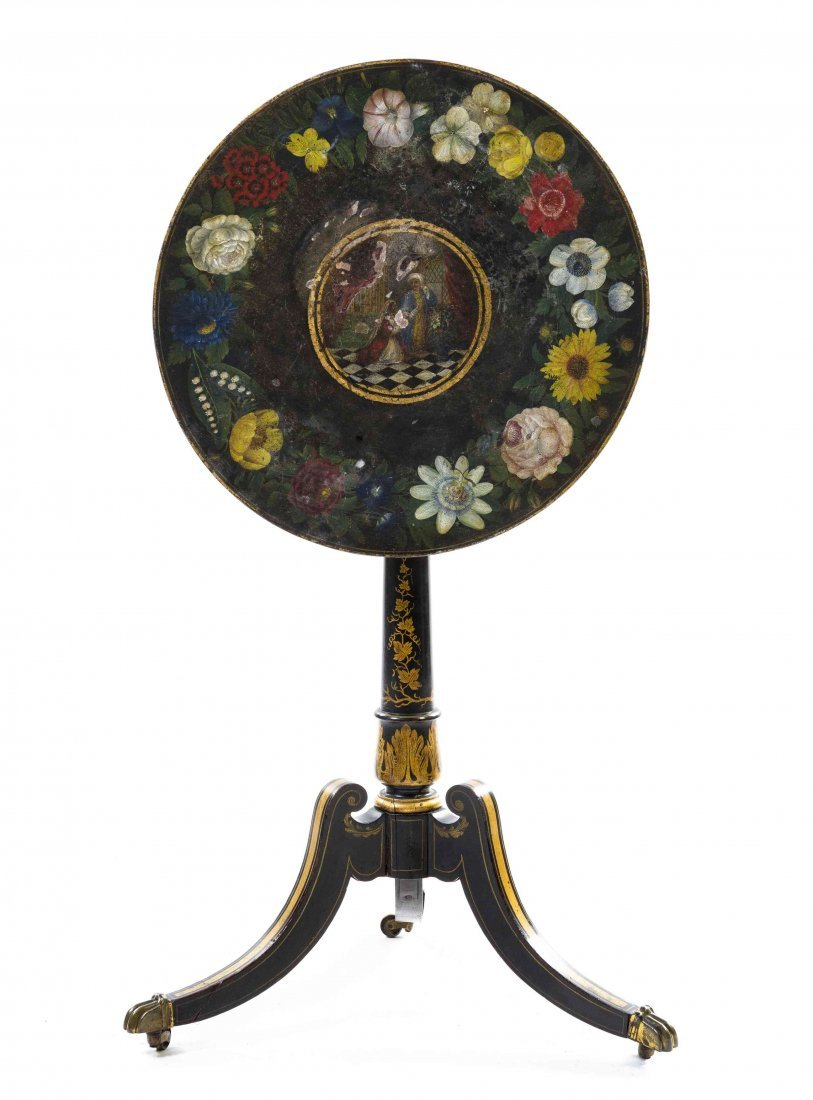 A Regency Style Ebonized and Painted Tea Table, Height
