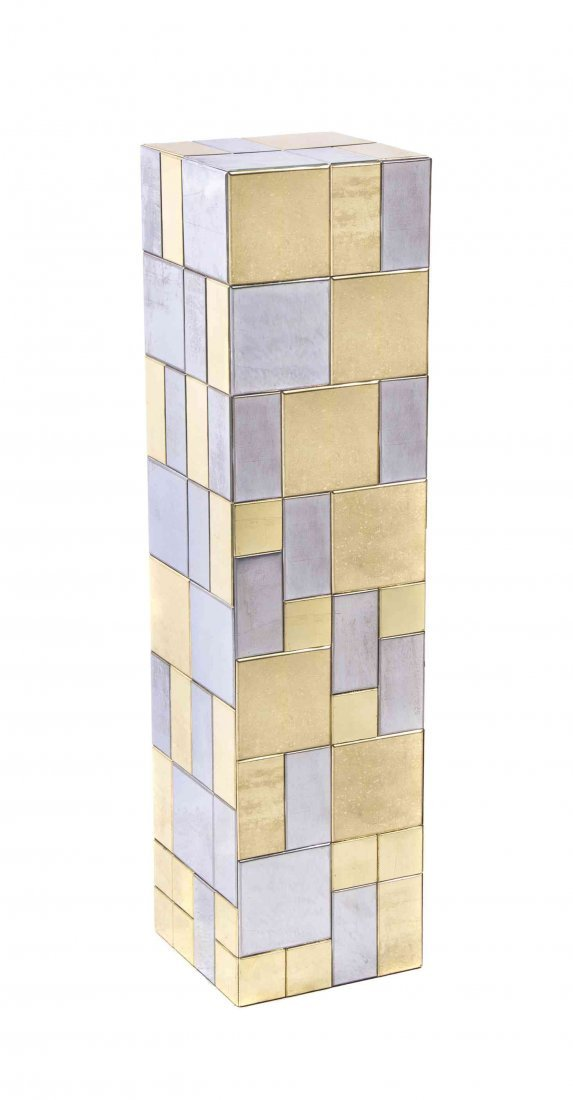A Chrome and Brass Pedestal, in the style of Paul