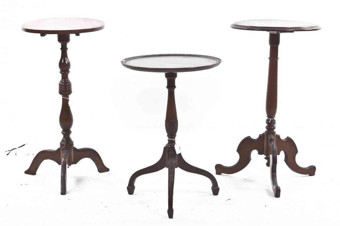 Three American Candle Stands, Height of tallest 28 1/4