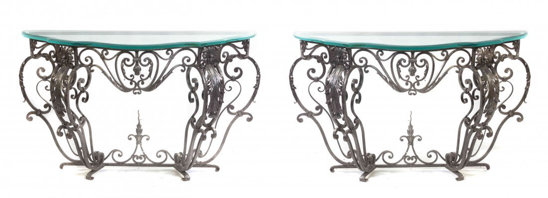 A Pair of Steel Console Tables, Height 34 x width 54
